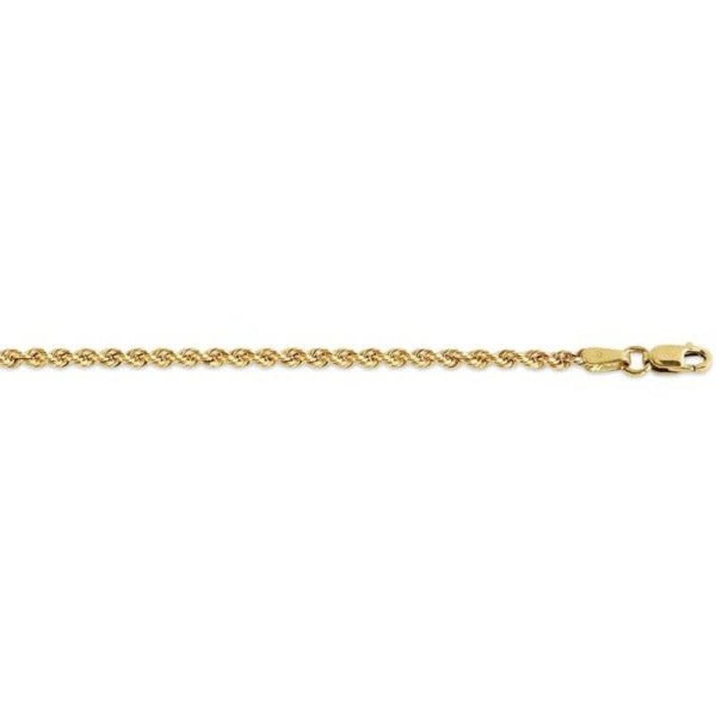 """10K Yellow Gold (2.5mm) Hollow Rope Chain (18"""" - 24"""")"""