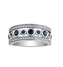 14K White Gold (0.43ct) Diamond and Sapphire Ring
