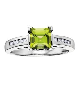 10K White Gold (0.10ct) Diamond and Peridot Ring