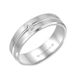 Sterling Silver Mens (5mm) Diamond Wedding Band