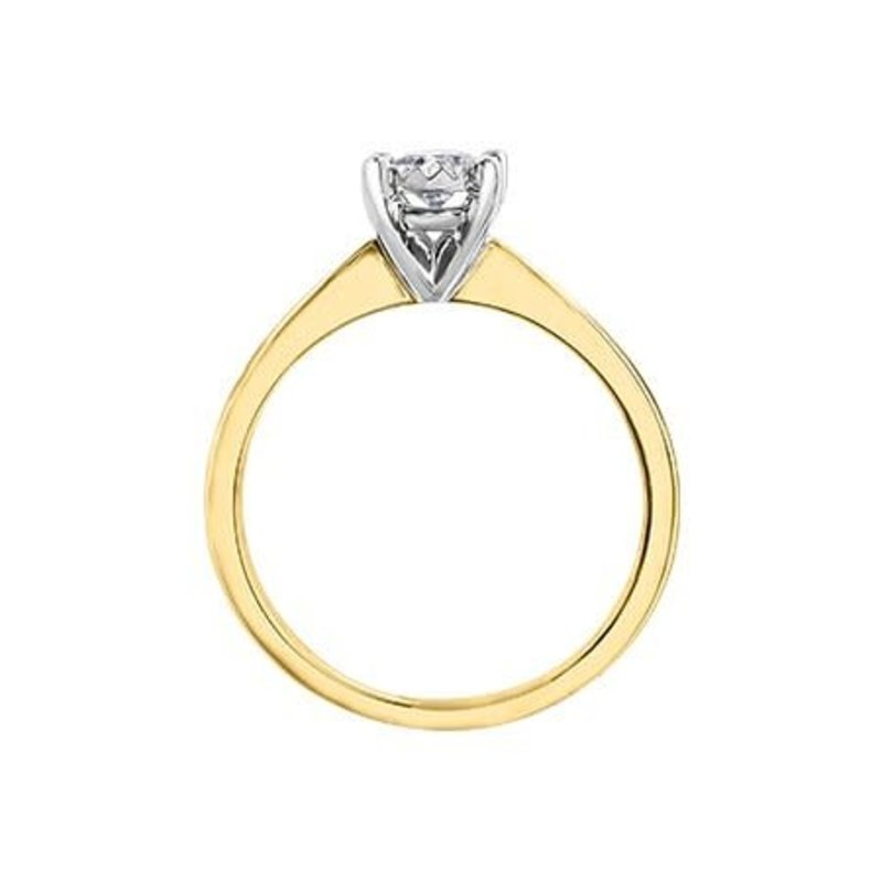 10K Yellow Gold (0.25ct) Diamond Illusion Setting Solitaire Engagement Ring