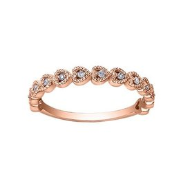 10K Rose Gold (0.10ct) Diamond Stackable Heart Wedding Band