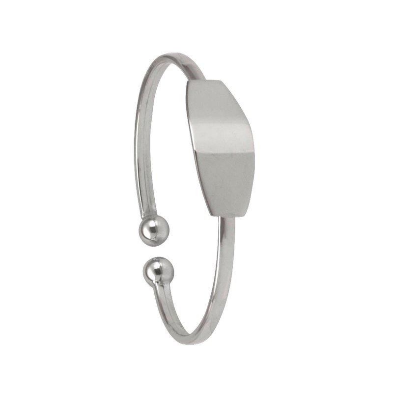 10K White Gold Baby ID Bangle Bracelet