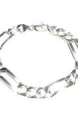 """10K White Gold (9.5mm) Square Figaro Link Bracelet 8.5"""""""