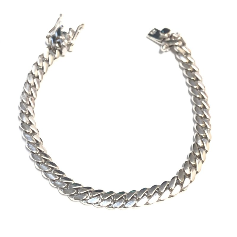 10K White Gold (6.3mm) Solid Curb Ladies Bracelet 7.25""