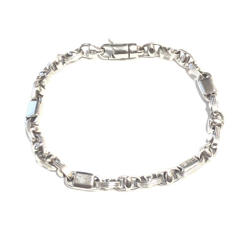 "10K White Gold (6mm) Mens Fancy Link Bracelet 8.75"""