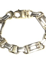 10K Yellow and White Gold (14mm) Fancy Link Mens Bracelet 9.25""