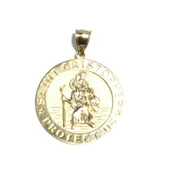 10K Yellow Gold (Extra Large) St. Christopher Medal Pendant