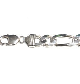 "Sterling Silver (11.4mm) Figaro Mens Bracelet 9"""