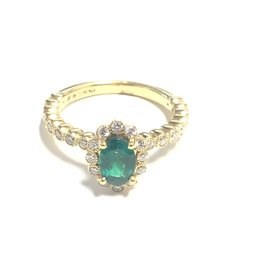 18K Yellow Gold (0.76ct) Emerald and Diamond Ring
