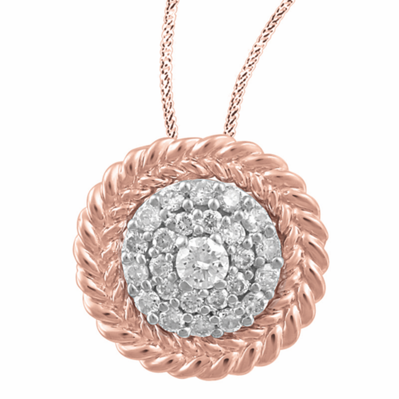 10K Rose Gold (0.14ct) Canadian Diamond Cluster Pendant