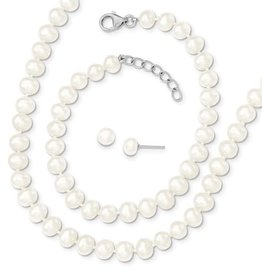 Silver Earrings and Necklace Freshwater Pearl Matching Set
