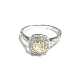 Palladium White Gold (0.90ct) Natural Yellow Diamond  Double Halo Engagement Ring