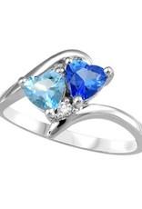 10K White Gold Swarovski Gemstones and Diamond Ring