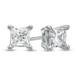 14K White Gold (0.30ct) Princess Cut Canadian Diamond Stud Earrings