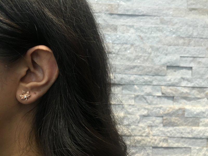 Rose Gold Maple Leaf (0.05ct) Canadian Diamond Stud Earrings