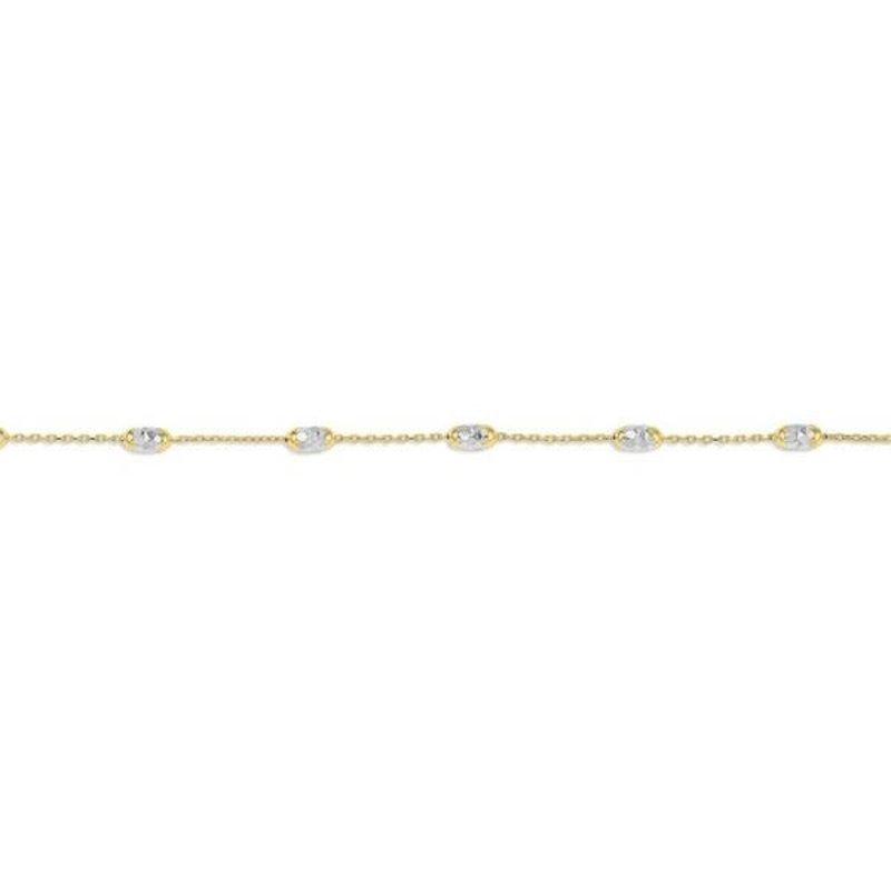 10K Yellow and White Gold Diamond Cut Oval Beaded Bracelet