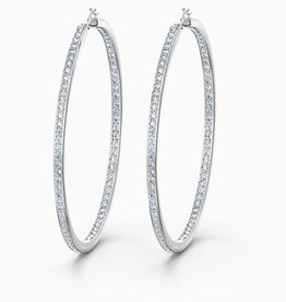 Swarovski Swarovski Rare Hoop Pierced Earrings, White, Rhodium Plated