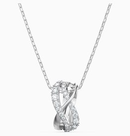 Swarovski Swarovski Twist Rows Pendant, White, Rhodium Plated