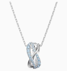 Swarovski Swarovski Twist Rows Pendant, Blue, Rhodium Plated