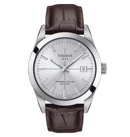 Tissot Tissot Gentlemen Powermatic 80 Silicium Silver Tone Dark Brown Leather Strap Watch