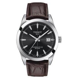 Tissot Tissot Gentleman Powermatic 80 Silicium Silver Tone Dark Brown Leather Strap Watch