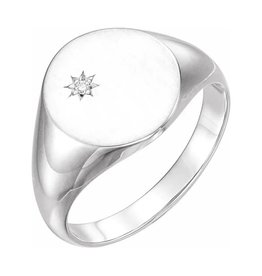 Sterling Silver Mens (0.02ct) Diamond Signet Ring