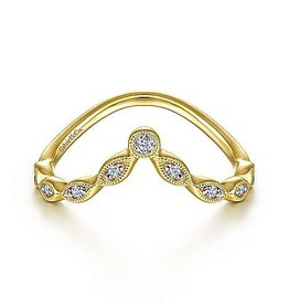 Gabriel & Co 14K Yellow Gold Curved Marquise Station Diamond Ring