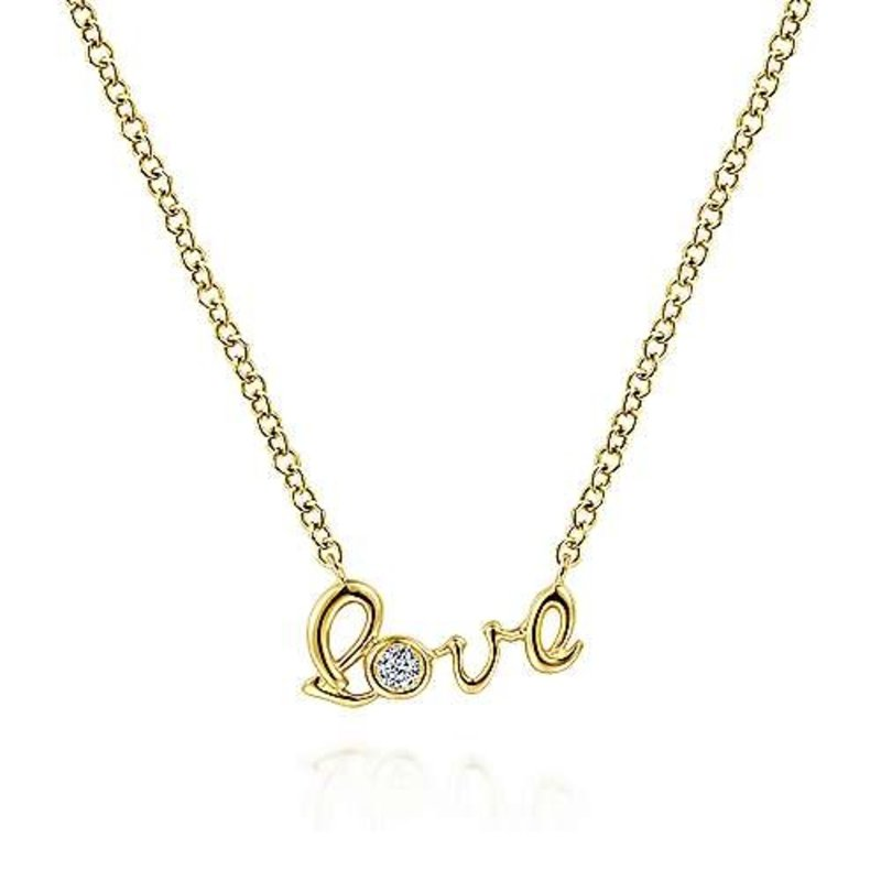 Gabriel & Co 14K Yellow Gold Love Pendant Necklace with Diamond Accent
