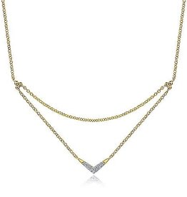 Gabriel & Co 14K Yellow Gold Pavee Diamond Layered V Necklace