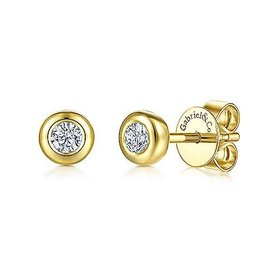 Gabriel & Co 14K Yellow Gold Bezel Set White Sapphire Stud Earrings