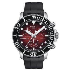 Tissot Tissot Seastar 1000 Chronograph Men's Red Dial Black Rubber Strap Watch