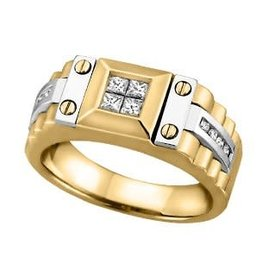 14K Yellow and White Gold (0.40ct) Mens Diamond Ring