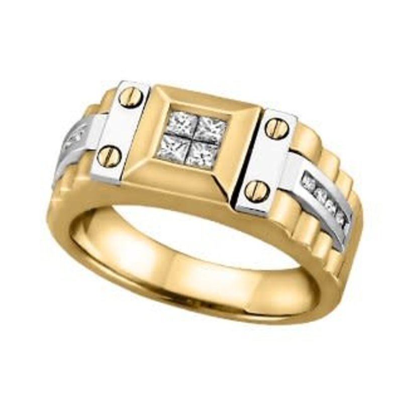 14K Yellow and White Gold (0.40ct) Mens Diamond Ring