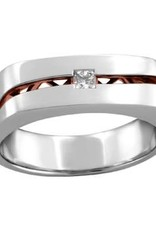 10K White and Rose Gold (0.20ct) Diamond Mens Ring
