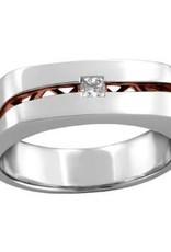 10K White and Rose Gold (0.20ct) Princess Cut Diamond Mens Ring