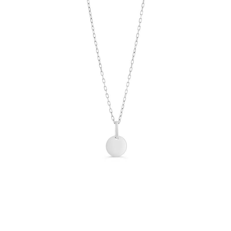 10K White Gold Small Disc Necklace