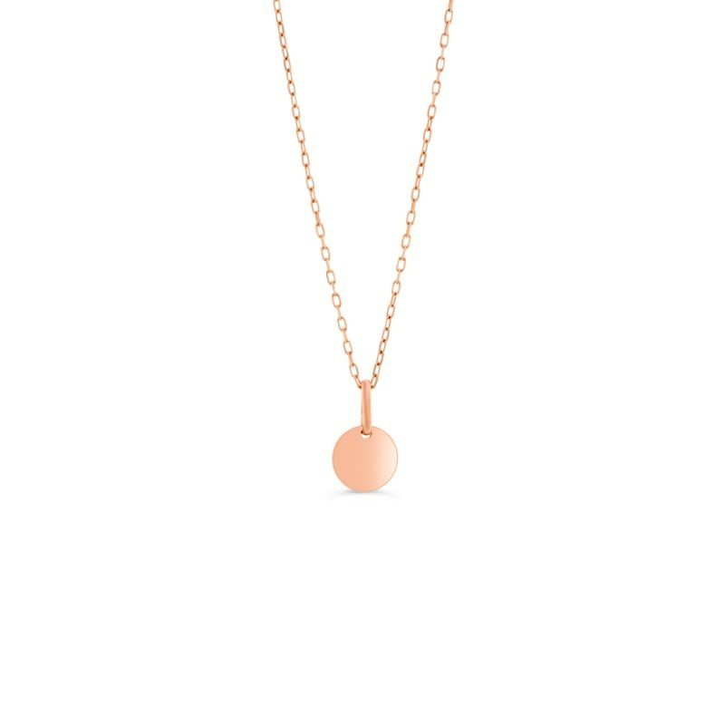 10K Rose Gold Small Disc Necklace