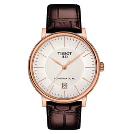 Tissot Tissot Carson Premium Powermatic 80 Men's Rose Tone Brown Leather Strap Watch