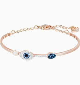 Swarovski Swarovski Symbolic Evil Eye Bangle Bracelet, Blue, Mixed Metal Finish