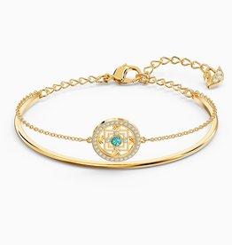 Swarovski Swarovski Symbolic Mandala Bangle Bracelet, Green, Gold Tone Plated