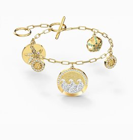 Swarovski Swarovski Shine Coin Bracelet, Light Multi-Colored, Gold Tone Plated