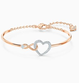 Swarovski Swarovski Infinity Heart Bangle Bracelet ,White, Mixed Metal Finish