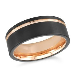 Black Tungsten and Rose Gold Tone 8mm Mens Band