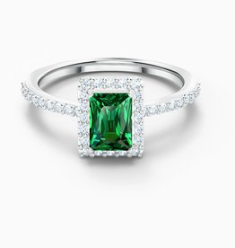 Swarovski Swarovski Angelic Rectangular Ring, Green, Rhodium Plated