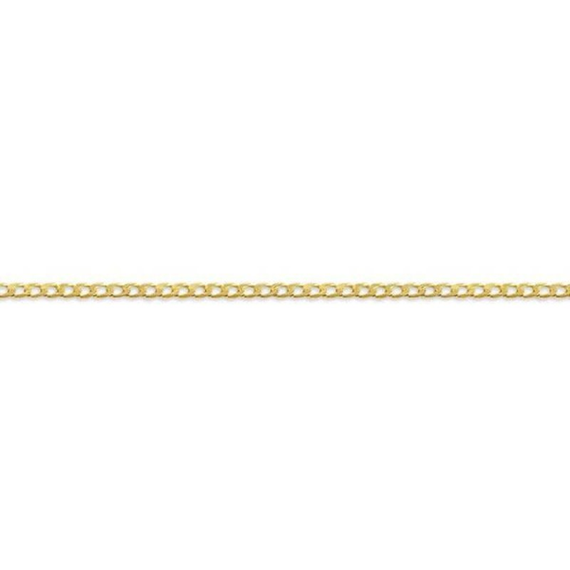 "10K Yellow Gold (2mm) Curb Ankle Bracelet 9""/10"""