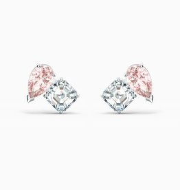 Swarovski Swarovski Attract Soul Stud Earrings, Pink, Rhodium Plated