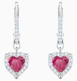 Swarovski Swarovski One Heart Dangle Earrings, Red, Rhodium Plated