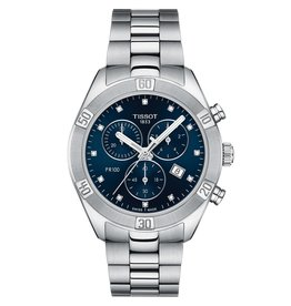 Tissot Tissot PR 100 Sport Chic Chronograph Ladies Silver Tone Blue and Diamond Dial Watch