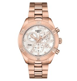 Tissot Tissot PR 100 Sport Chic Chronograph Ladies Rose Tone Mother of Pearl and Diamond Dial Watch